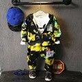 Boy's Clothing Sets Children Clothing Autumn Sky Map Graffiti Printing Zipper Hooded Jacket + Boy Pants Outfit Costume Boys Coat