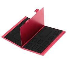 Красная алюминиевая коробка для хранения 12 в 1, чехол для держателя карты памяти, кошелек большой емкости для 4 * SD Micro SD SDHC SDXC MMC 8 * TF SIM-карты