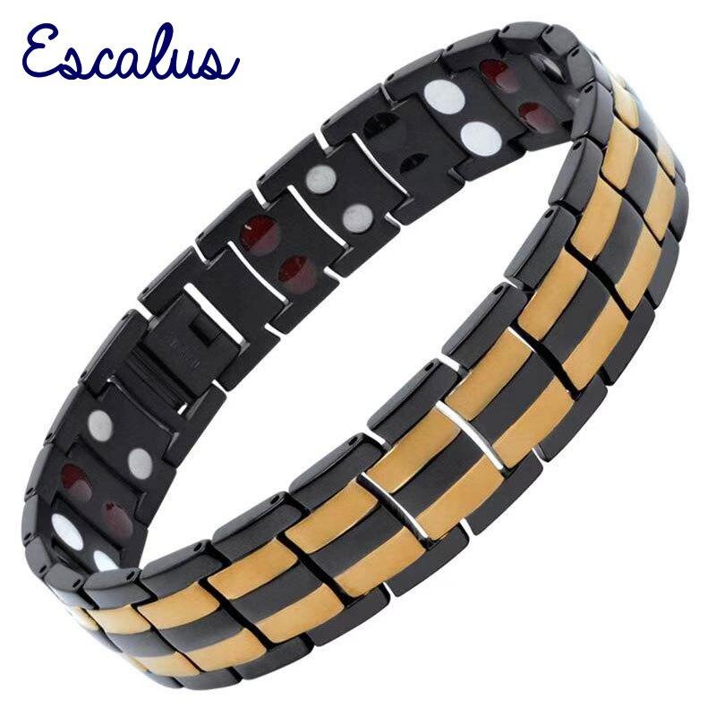 Bracelet magnétique en titane pur pour hommes Escalus pour hommes couleur or quatre en un aimants Ion Germanium lointain Infar Bracelet rouge