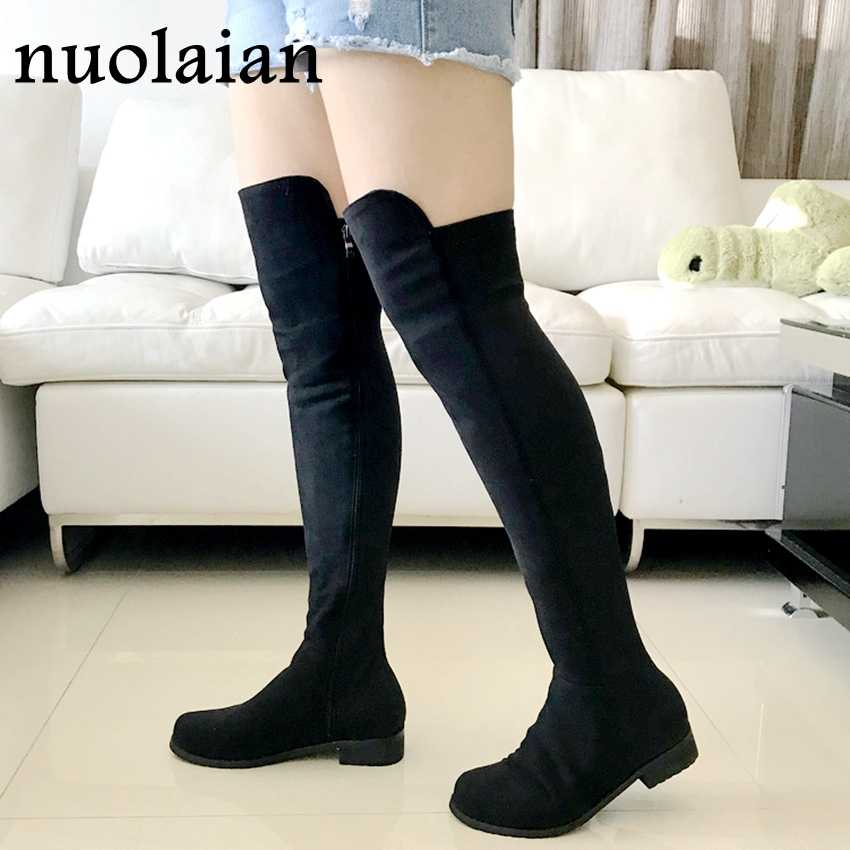 4b2ba391eeef Women Winter Shoes Over The Knee Thigh High Black Boots Woman Motorcycle  Flats Long Boots Low