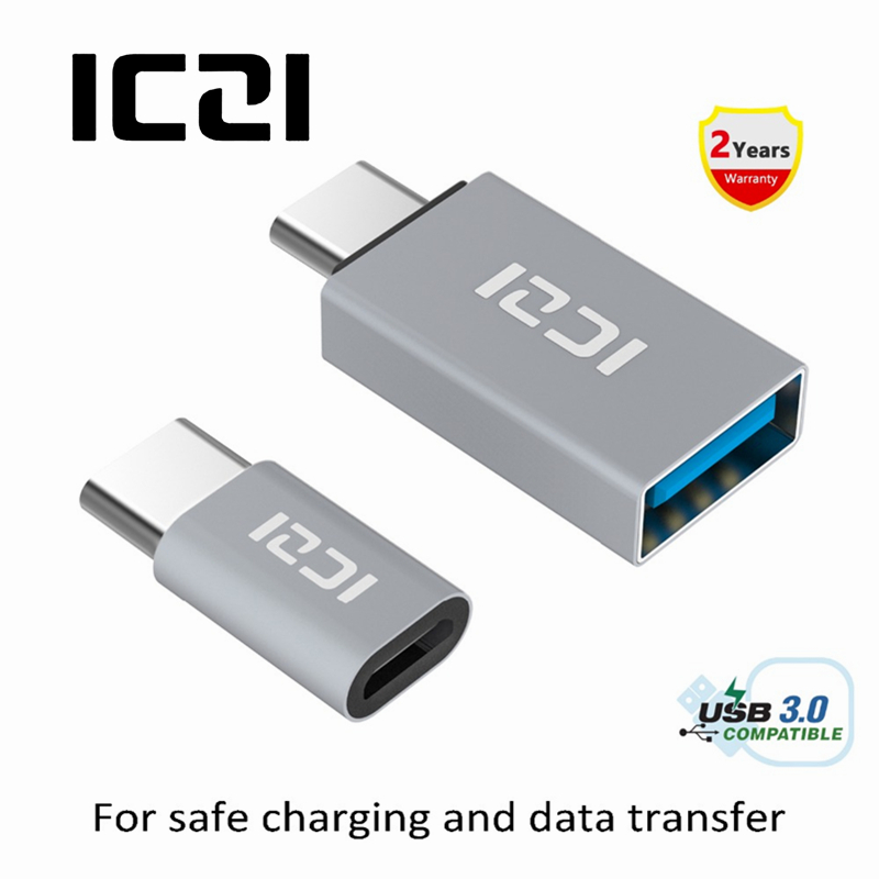 ICZI 2 Pcs USB 3.1 Type C Male to Micro USB Female Adapter + USB 3.1 Type C Male to USB 3.0 Female OTG Adapter Converter mini usb female to micro usb male adapter black