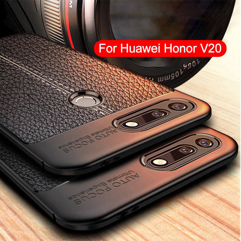 For Honor V20 Case Silicone Cover For Huawei Honor V20 Case Leather Texture Soft TPU Back Cover For Honor View 20 Case bumper image