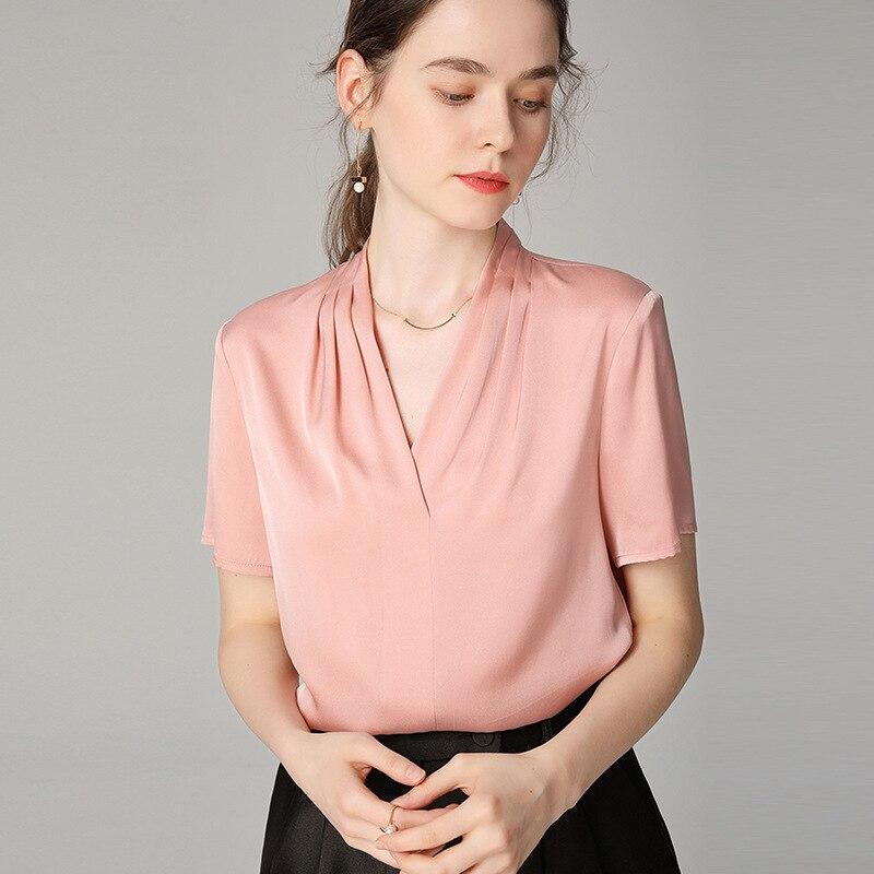 PIXY vs Rose Doux Tache 100% Soie T-shirts D'été À Manches Courtes V Cou Blanc T-shirts Chemise Femme pullover décontracté Basique Dames hauts