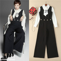 High Quality 2 Pcs Overalls Suits European Style 2018 Spring White Long Sleeve Shirt And Black