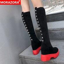 MORAZORA 2020 top qualität wildleder leder knie hohe stiefel frauen keile plattform schuhe herbst winter Stretch stiefel frau