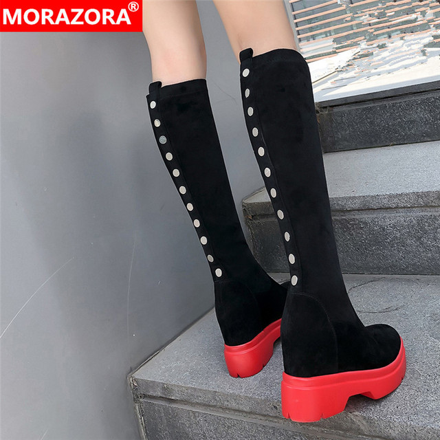 MORAZORA 2020 top quality suede leather knee high boots women wedges platform shoes autumn winter Stretch boots woman