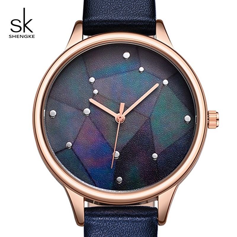 Shengke Creative Dial Watches Women Brand Fashion Leather Watch Luxury Quartz Watch Ladies Wristwatch Reloj Mujer 2018 SK #9766 olevs 5873 luxury hollow out dial watch women luminous hands golden quartz watches leather wristwatch ladies clock reloj mujer