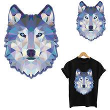Cristal geométrico lobo ferro em remendos listras thermo adesivos em roupas transferência fusível vestuário apliques remendo personalizado toppe