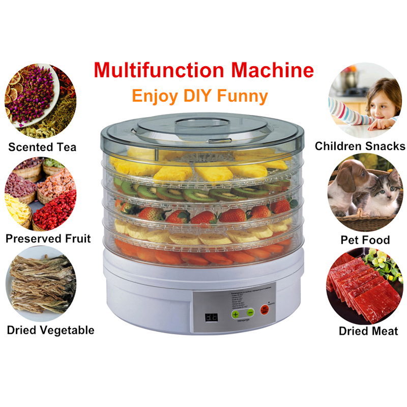 Teet 32cm Electric Household Digital Fruit Food Dehydrator Machine BPA Free White ColorTeet 32cm Electric Household Digital Fruit Food Dehydrator Machine BPA Free White Color