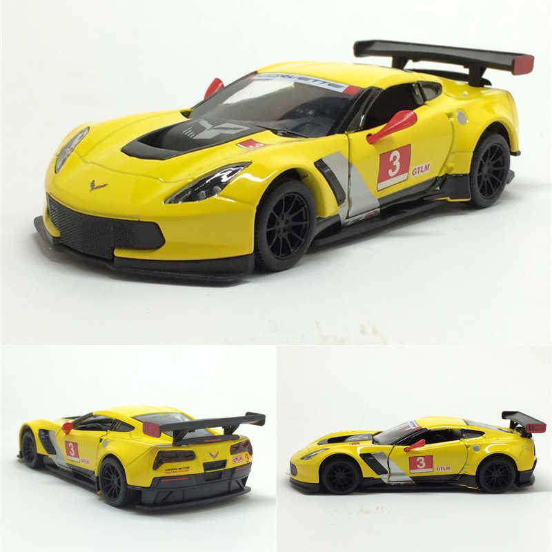 High simitation 1: 36 Corvette C7R alloy model toys pull back car model metal castings with open doors toy vehicles kids toy