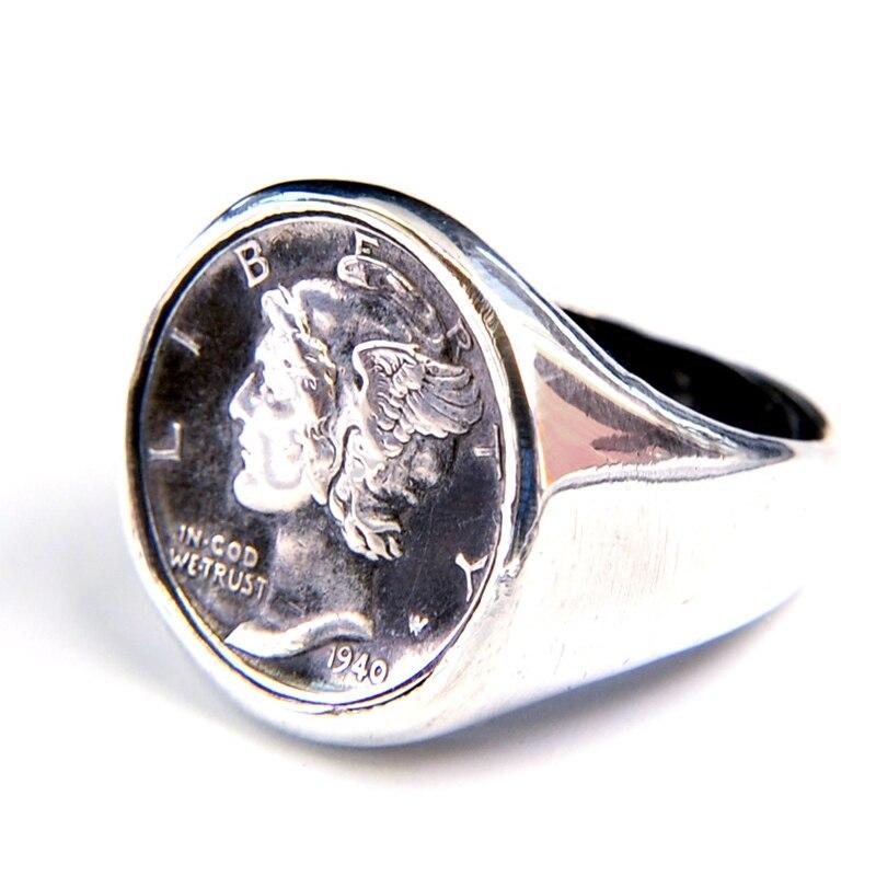 Nach 925 Sterling Silber Antike Münze Ring Wahre Münze Handmade Silber Münze Paar Ring ring frau und mann der ring - 5
