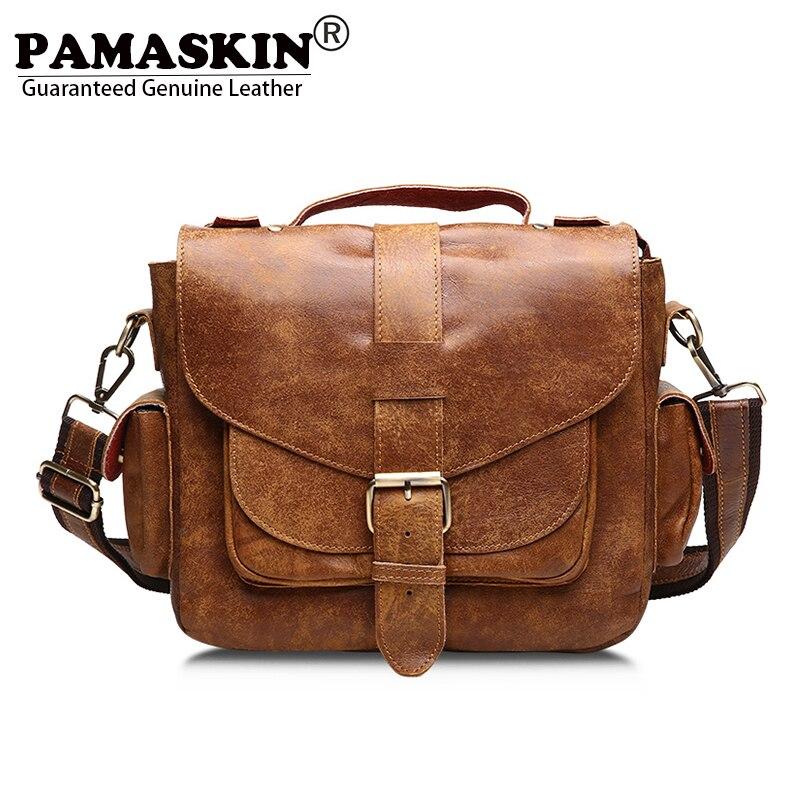 PAMASKIN 2018 Designer Cowhide Vintage Casual Men Messenger Bags The First Layer Real Leather Practical Travel Bags Men Bag фоторамка коллаж любовь на 3 фото 27 54см уп 1 12шт