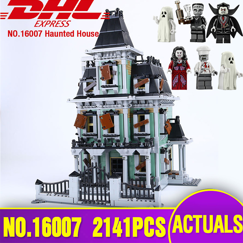 DHL LEPIN 16007 Monster fighter The haunted house Model set Educational Building Kits Model Compatible With legoing 10228 Toys lepin 16007 2141pcs monster fighter the haunted house model set building kits model compatible with 10228 educational toys gifts