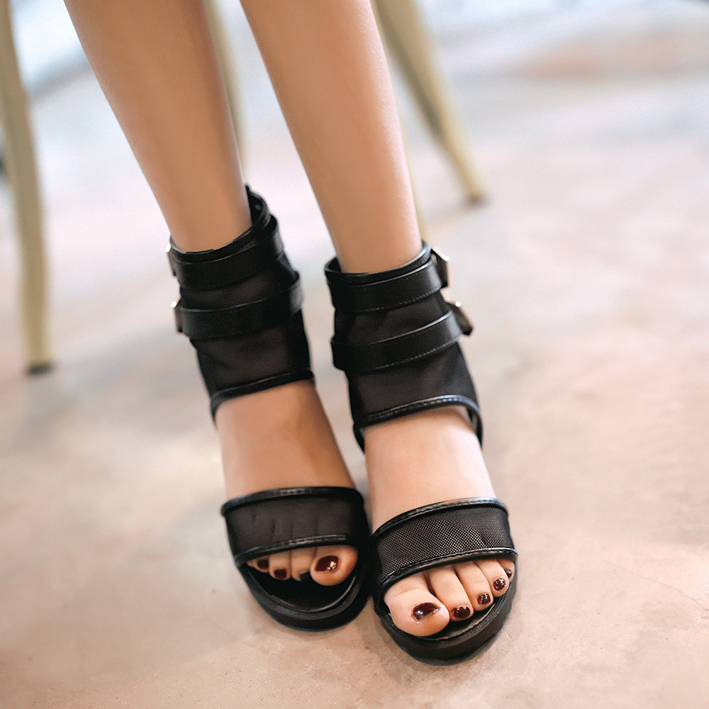 European sandals shoes - European New Sandals Shoes Women 2015 Summer Wedges Shoes For Woman High Heeled Pierced Mesh Open Toe Casual Ladies Sandals Sale In Women S Sandals From