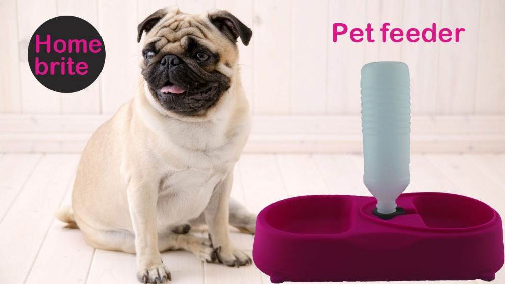 Automatic Pet Feeder Dual Port Dog Feeding Bowl Cat Drinking Fountain Food Dish Dog Bowl Water Dispenser Feeder PP011