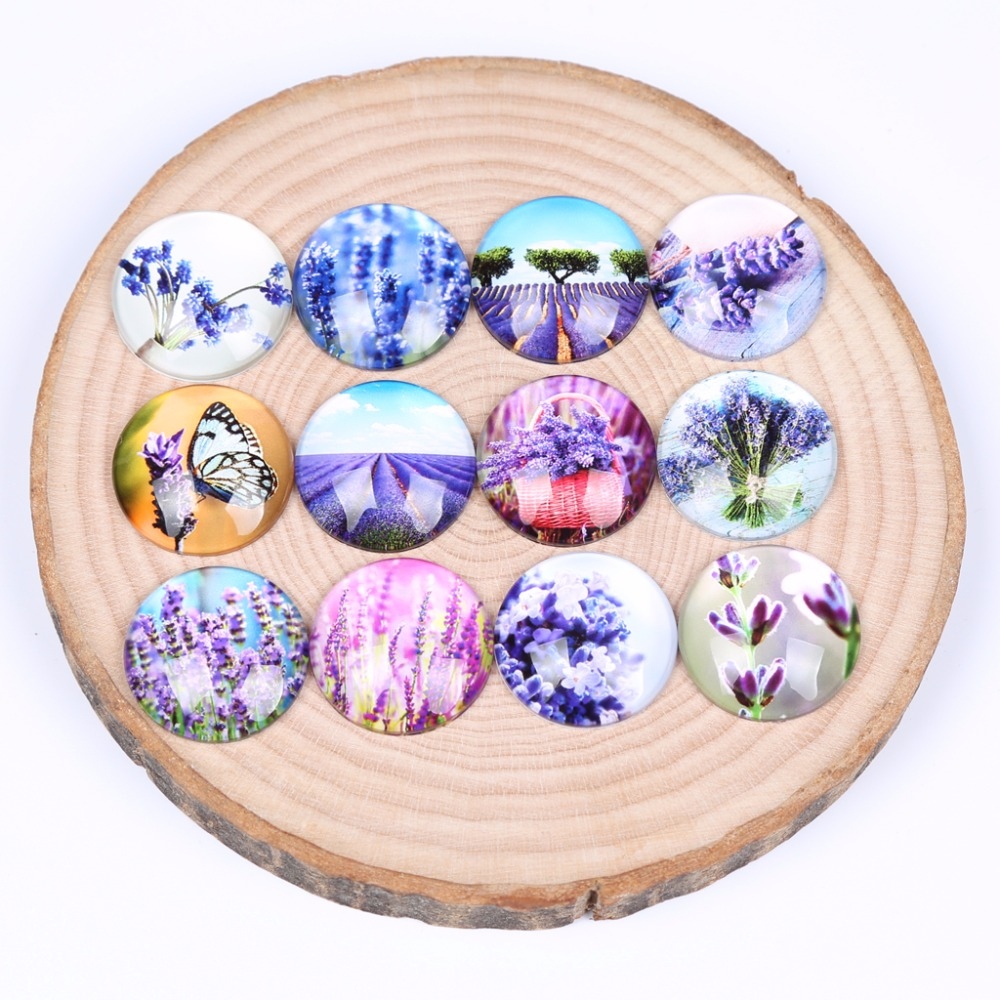 reidgaller mix purple lavender flower photo round dome glass cabochon 12mm 14mm 18mm 20mm 25mm diy earring jewelry findings цена