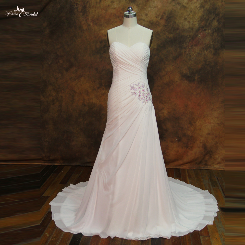 RSW269 Criss-Cross Drapped Pleats Chiffon Wedding Dress