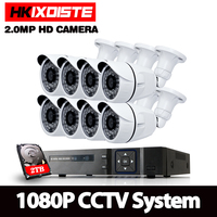 8CH CCTV System 1080P AHD DVR 8PCS 1920*1080P IR Weatherproof Outdoor Video Surveillance Home Security Camera System 8CH DVR Kit