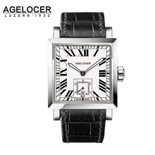 2017 AGELOCER Luxury Brand Men Watches Dual Display Wristwatches Staniless Steel Business Retro Clock Reloj Hombre Marca