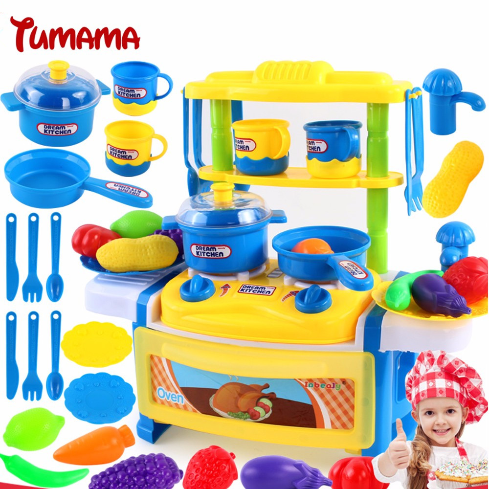 Tumama 39Pcs Children Kitchen Toy House Simulation Pretend Play Cutting  Food Set Cooking Cook Baby Tableware Kitchen For Kids  Kitchen For Kids