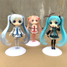 лучшая цена QPosket Hatsune Miku Sakura Snow Miku Hatsune Action Figure Q Posket PVC Collectible Model Toy