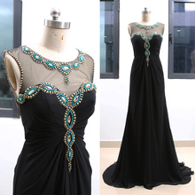bf2c5f2037a1 MACloth Black Sweep Train O Neck Floor-Length Long Crystal Chiffon Wedding  Bridesmaid Prom Party Dress S 264535 Clearance