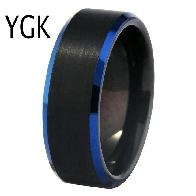Clássico da Banda de Casamento Anel para As Mulheres Simples Anéis do Tungstênio Mens Anel Preto Fosco Azul da Festa de Aniversário de Noivado Anel de Tungstênio
