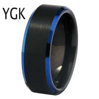 Classic Wedding Band Ring for Women Simple Engagement Tungsten Rings Mens Anniversary Party Ring Matte Black Blue Tungsten Ring