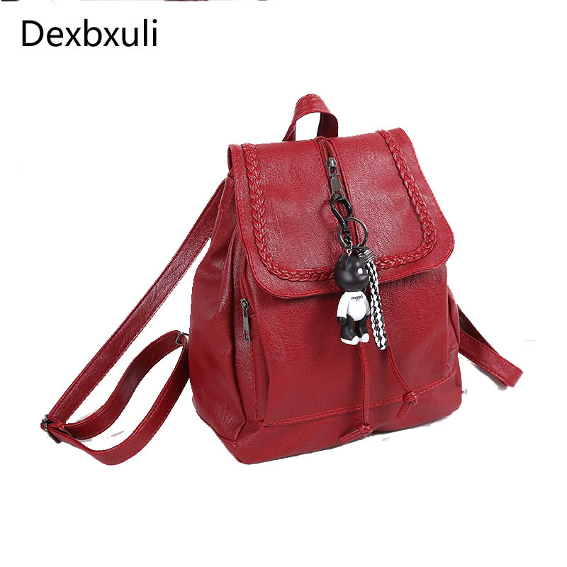 Fashion Female Backpack Women's Shoulder Bag Cartoon Bear Personality Leather Student Backpacks Large Capacity Travel Bags Red oxford bag korean version of the female students shoulder bag large capacity backpack canvas backpacks