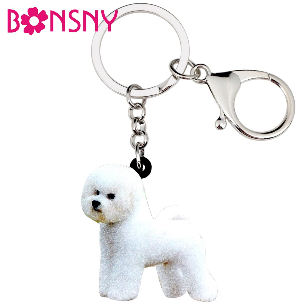 Bonsny Acrylic Sweet Bichon Frise Dog Key Chains Keychains Rings Animal Jewelry For Women Girls Ladies Handbag Car Purse Charms