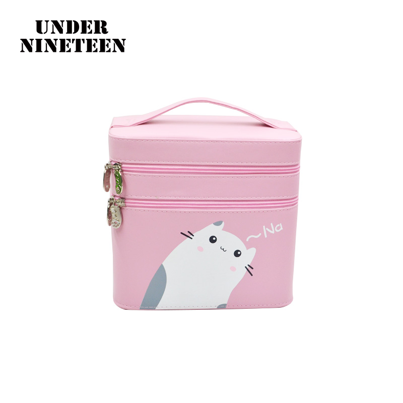 Under Nineteen 2017 Kawaii Two Layers Folding Professional Makeup Organizer Bags High Quality Super Big Travel Cosmetic Box Gift feie high quality cic digital hearing aid s 15a ear amplifier for the hearing loss