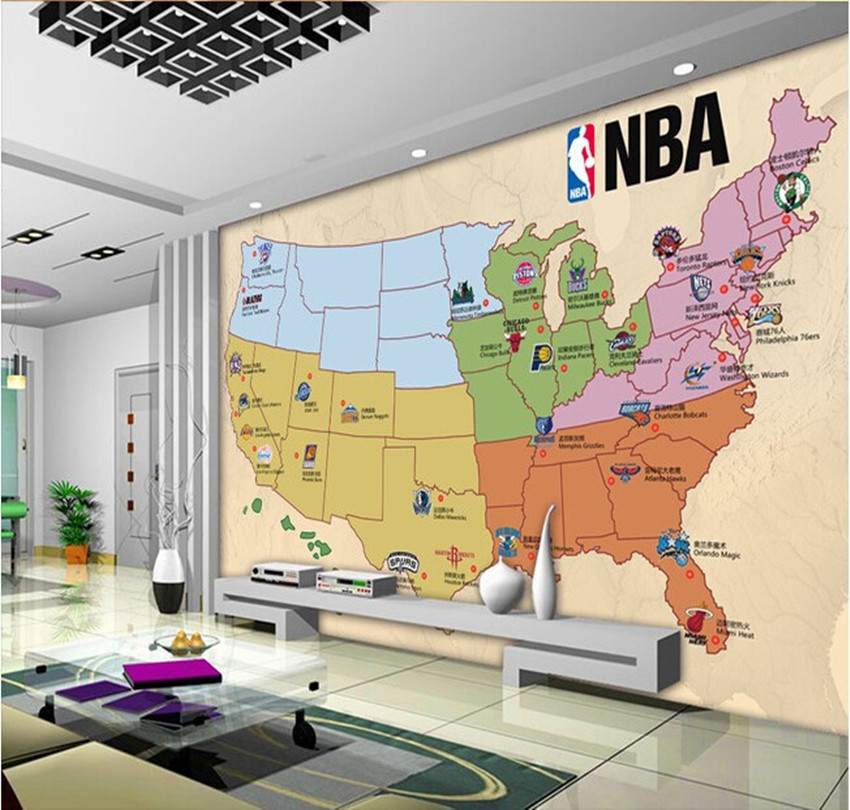USA Basketball Team On The Occasion Of The Map Wall Mural