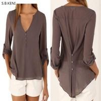 Fashion Women Blouses Shirts Plus Size S 4XL Female Long Sleeve Chiffon Blouse Chic Elegant Lady
