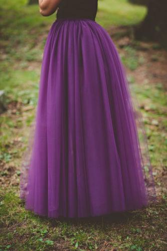 Romantic Purple Long Tulle Adults Tutu Skirt Pleated Floor Length Maxi Womens Skirts Saia Midi