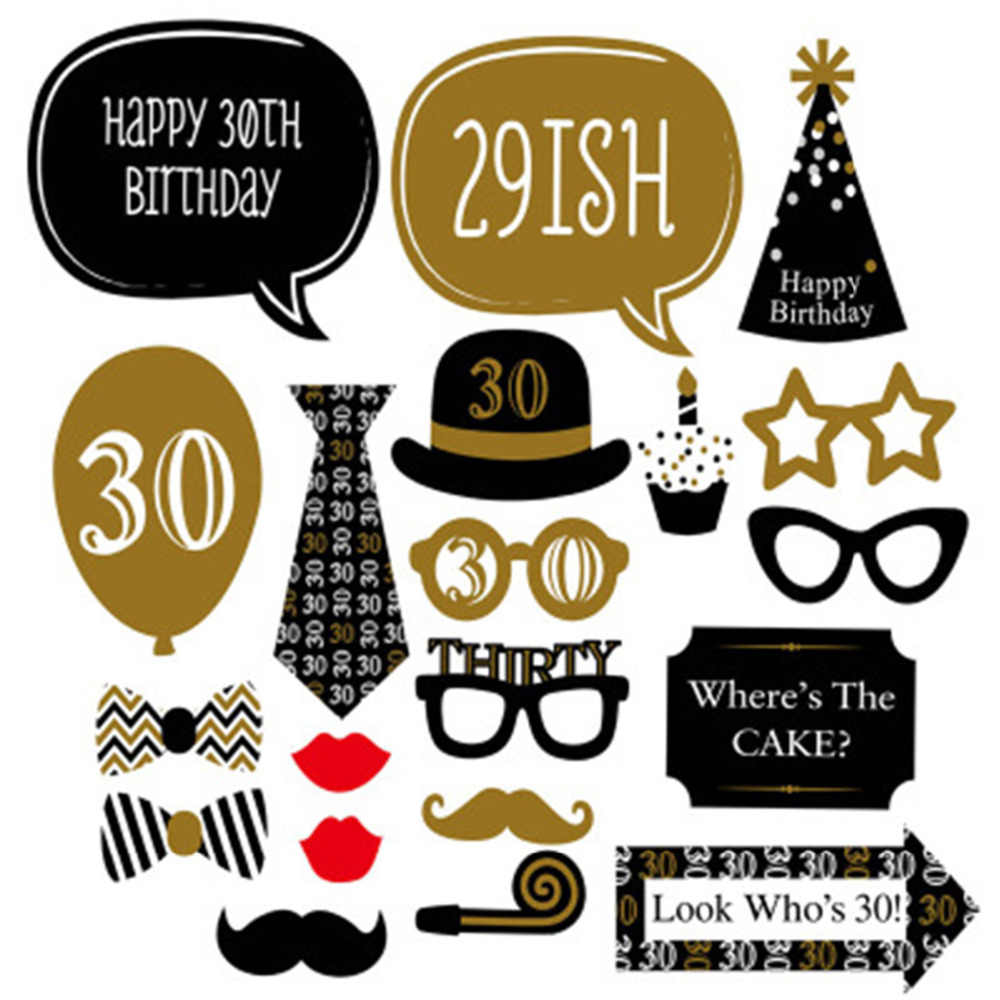 LAPHIL 30th Birthday Balloons Happy Banner Photobooth Props Party Decorations Adult 30 Years