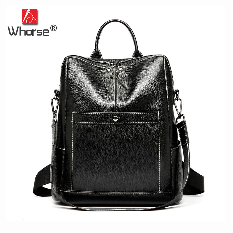 Famous Brand Black Vintage Casual Top Cowhide Womens 12 Backpack Genuine Leather Daypack Backpacks Back Pack For Women W09740