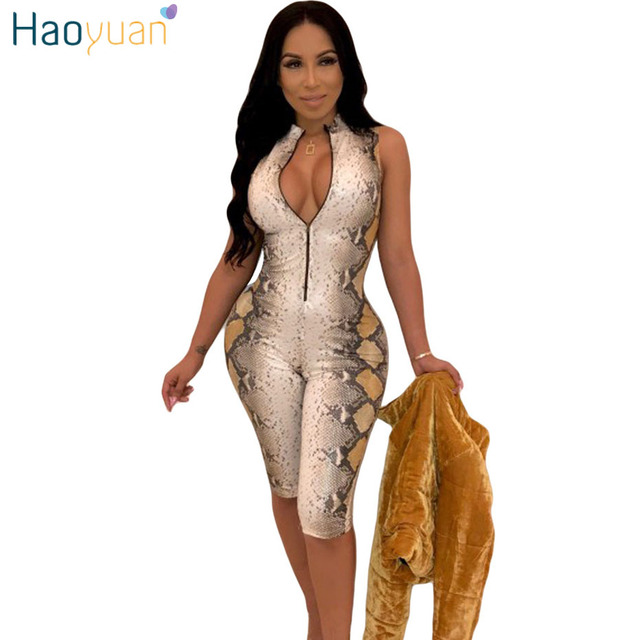 0a848f84bad2 HAOYUAN Snake Skin Sexy Playsuit Casual One Piece Bodycon Shorts Rompers  Womens Jumpsuit Streetwear Snakeskin Party Bodysuit
