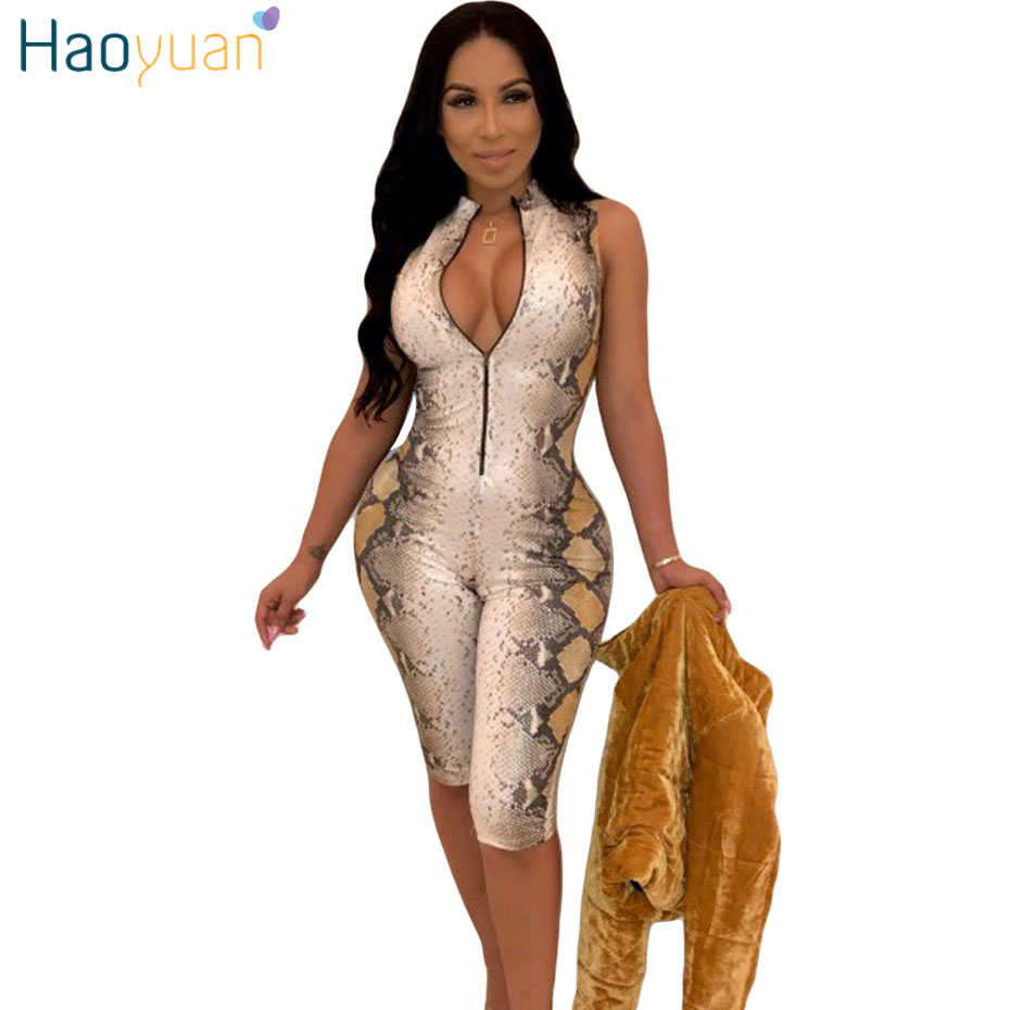 HAOYUAN Snake Skin Sexy Playsuit Casual One Piece Bodycon Shorts Rompers Womens   Jumpsuit   Streetwear Snakeskin Party Bodysuit
