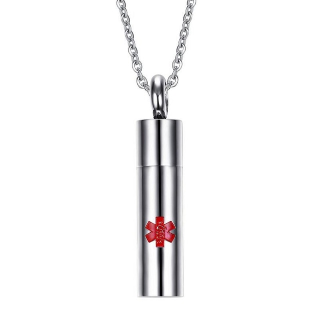 Openable capsule container pendant necklace star of life snake openable capsule container pendant necklace star of life snake emblem who symbol steel necklace doctor nurse aloadofball Images