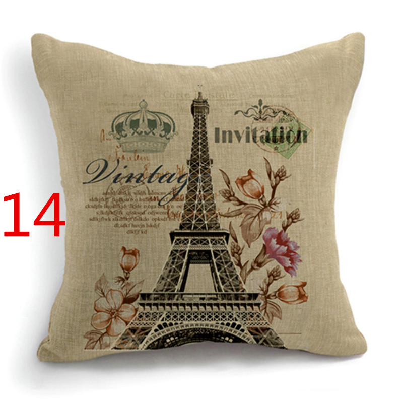 MHome Vintage Eiffel Tower Big Ben Rose Shoes decorative Pillow Case Cushion Cover Home Decor Car Seat Luxury Printed