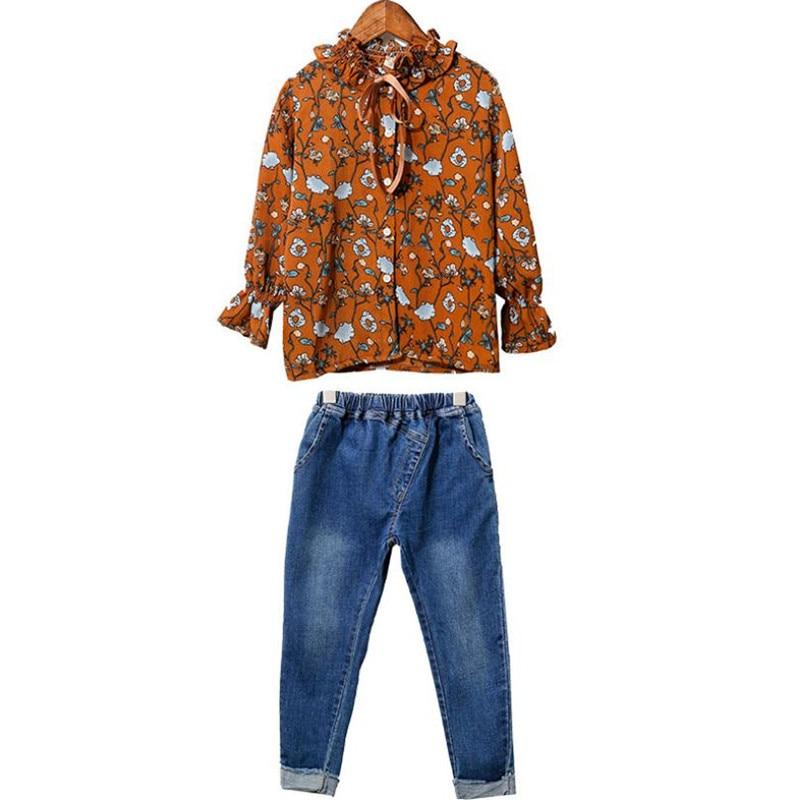 DFXD Teen Girls Clothing Set 2018 Fashion Autumn Cotton Long Flare Sleeve Floral Print Wood Ear Collar Blouse+Long Jeans Pants все цены