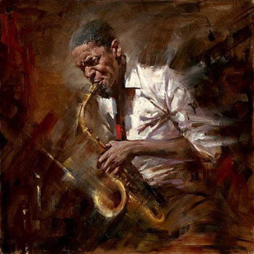 No framed Oil painting impressionism male portrait playing Jazz music canvas