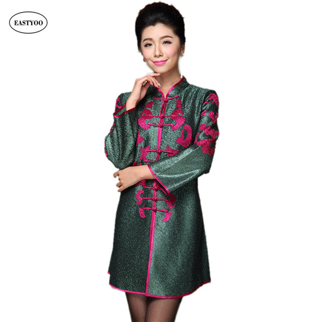 45e298d7c27 Silk Spring Jackets Women Mandarin Collar Chinese Tang Tops Plus Size  Clothing Middle Aged Women Coat Vintage Long Jacket Dress
