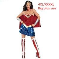 Plus Size XXXXL 4XL Super Girl Ladies Wonder Woman Costume Fancy Dress Women Halloween Customes Blue