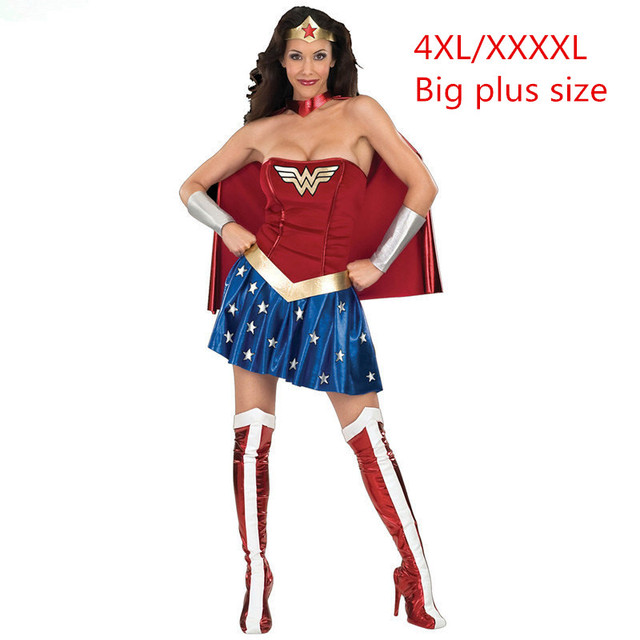Plus Size XXXXL 4XL Super Girl Ladies Wonder Woman Costume Fancy Dress  Women Halloween customes blue women supergirl costumes 270c7e090
