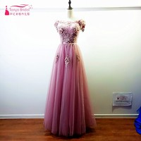 Real Photos Blush Pink Prom Dresses 2017 African Boat Neck Off The Shoulder A Line Lace