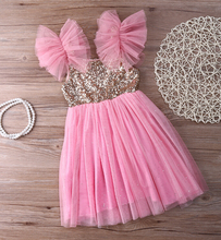 New Bling Pinks Princess Children Baby Girls Clothing Dress Party Tulle Tutu Sequined Ball Gown Fancy