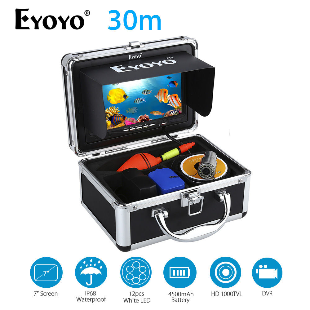 EYOYO 8GB 30m 7 LCD HD 1000TVL Fish Finder Underwater Fishing Video Camera DVR Recorder Waterproof Stainless Steel Shell 30m video