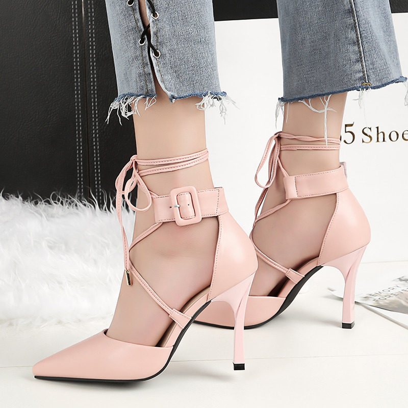 Buy 2018 Summer Fashion Woman Fetish Block Stable High Heels Female Strappy Sandals Thick Pink Pumps Lady Sexy Party Scarpins Shoes