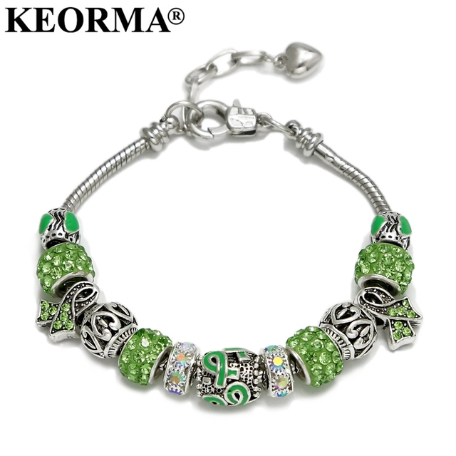 KEORMA Pink Ribbon Charm Bracelet & Bangle for Women European Murano Glass Bead Adjustable Heart Chain Bracelet Fashion Jewelry 3